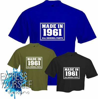 MADE IN  1961 - T Shirt, 60th BIRTHDAY (2021), Fun, Present, Gift, NEW • 7.99£