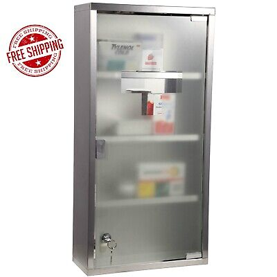 Stainless Steel Medicine Cabinet Wall Mounted Lockable First Aid Cupboard 4 TIER • 39.85£