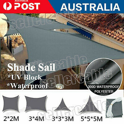 AU37.32 • Buy 2m 3m 5m Heavy Duty Shade Sail Shade Cloth Waterproof Triangle Rectangle Square