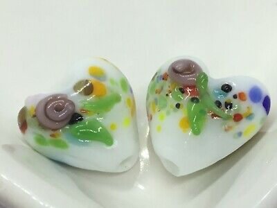 2 Stunning Handmade Indian White Lampwork Beads, Heart With Floral Rose, 16mm • 1.45£