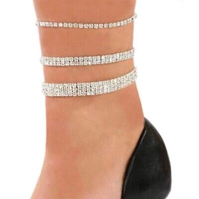 £3.99 • Buy Stretchy Anklet, Silver Plated Diamante Bling Rhinestone Ankle Chain Bracelet UK