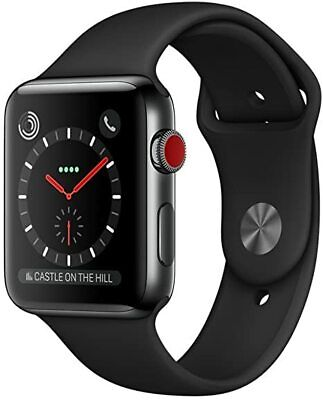 $ CDN253.10 • Buy Apple Watch Series 3 42mm Stainless Steel Case Black Band (GPS + Cellular) Watch