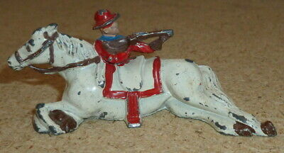 JOHILLCO JOHN HILL VINTAGE 1950s LEAD WILD WEST COWBOY FIRING RIFLE OVER HORSE • 30£