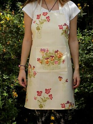 Quality Handmade Ladies' Apron 'Pansies' Floral Cotton Fabric Full Length Gift • 17.95£
