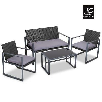 AU247.65 • Buy Gardeon 4PCS Outdoor Furniture Setting Patio Wicker Chairs Table Set Lounge