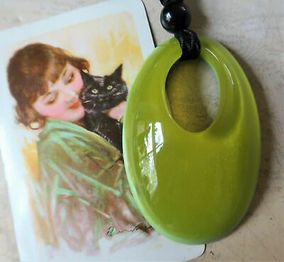 AU36 • Buy *Hand Crafted Zsiska 6.5cm Long Oval Green Resin Pendant On Adjustable Cord