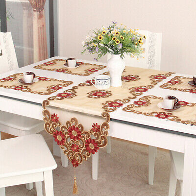 AU15 • Buy Vintage Embroidery Flower Lace Table Runner Mats Dining Room Kitchen Home Decor