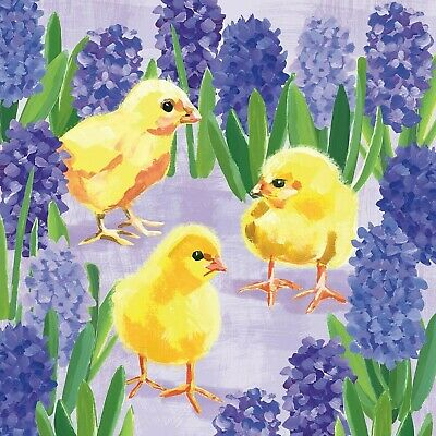 £1.35 • Buy 4 X Single Paper Napkins/3PLY/33cm/Decoupage/Easter/Chicks In Flowers/Hyacinths