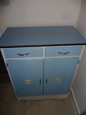 Vintage 1950-60,s Kitchen/bedroom,lounge Wooden Blue/white  Formica Cabinet/cupb • 55£