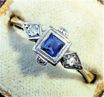 Antique Art Deco 18ct Gold, Platinum, Princess Sapphire & Diamond Ring, Size O • 450£