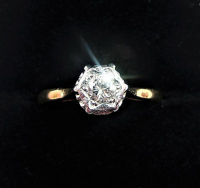 Antique Art Deco 18ct Gold, Platinum & 0.25ct Diamond Ring, Size J • 350£