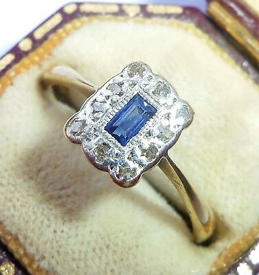 Antique Art Deco 18ct Gold, Platinum, Emerald Sapphire & Diamond Ring, Size O • 375£