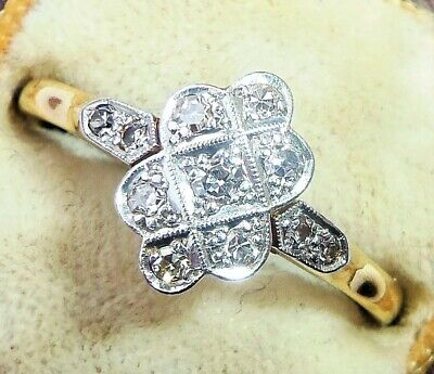 Antique Art Deco 18ct Gold, Platinum & Diamond Ring, Size Q1/2 • 675£