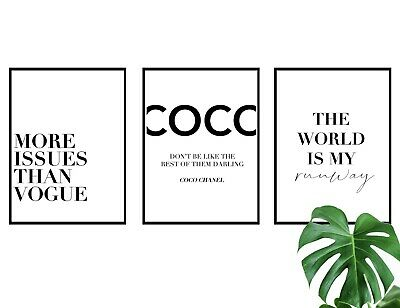 £9.49 • Buy Set Of 3 Coco Fashion Quote Poster Prints A4 Wall Art Home Decor Gift Idea
