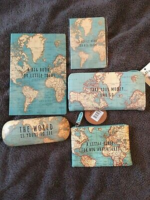 Sass And Belle World Map Travel Gift Set Notebooks, Purses, Glasses Case, BNWT • 20£