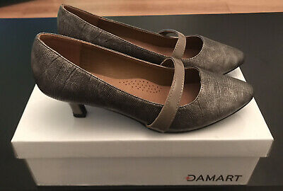Damart Ladies Pewter Kitten Heels Court Shoes Size 4 BNWB • 12.99£