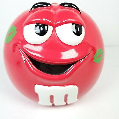 $14.99 • Buy Vintage Galerie Ceramic M&M's Red Candy / Cookie Jar Canister - W/ Green Kisses