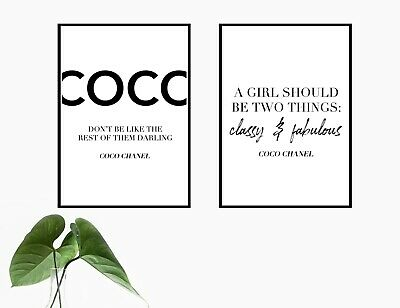 £7.99 • Buy Set Of 2 Coco Quote Poster Prints   A4 Wall Art Home Decor Gift Idea