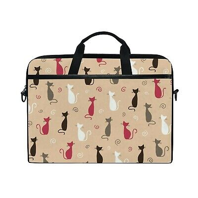 £42.22 • Buy Laptop Case, Cat Pattern Personalised Printed With 3 Compartment Shoulder Str...