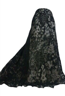Alex & Co Skirt 12 14 Maxi Black Burnt-out Net Overlay Flared Nude Lining # Goth • 24.99£