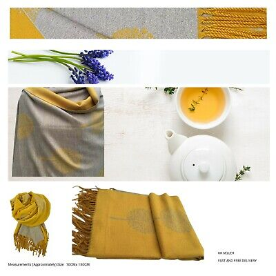Ladies Reversible Cashmere Blend Star Pleated Print Thick Pashmina  Scarf • 12.36£
