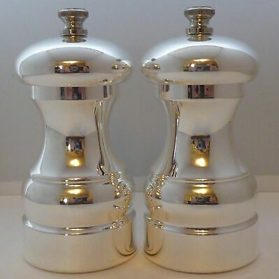 Silver Plated Cruet Set Salt And Pepper Grinders Mills Never Used Perfect Cond • 65£