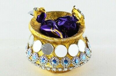 £1 • Buy Mini Matki Traditional Favour Box In Rustic Gold With Intricate Glass Detail