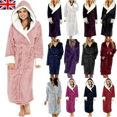 Women's Ladies Dressing Gown Hooded Fleece Comfy Fluffy Soft Bath Robe Nightwear • 22.09£