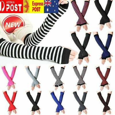 AU9.26 • Buy Striped Knitted Fingerless Thumb Gloves Arm Warmers Ladies Women Mittens AU