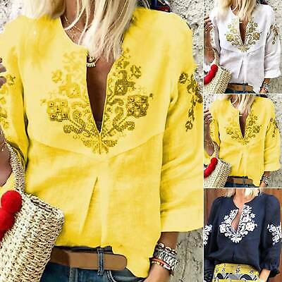 AU19.18 • Buy Womens V-Neck 3/4 Sleeve Floral Print T-Shirt Summer Casual Loose Blouse Top AU