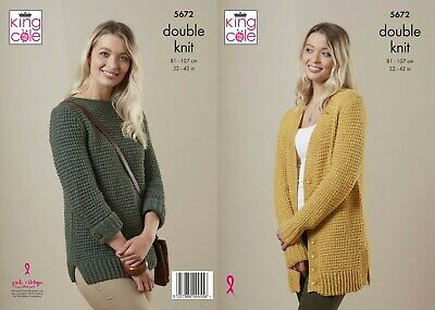 Ladies Long Cardigan Knitting Pattern For Dk Yarn Sizes 32-42 King Cole 5672 • 2.95£