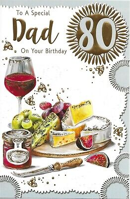 £2.79 • Buy Dad 80th Birthday Card ~ Wine And Cheese Design Quality Card With Paper Insert
