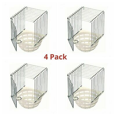 4 X Plastic & Wire Canary Nest Pans / Bird Nest Box For External Cage Fixing • 14.95£