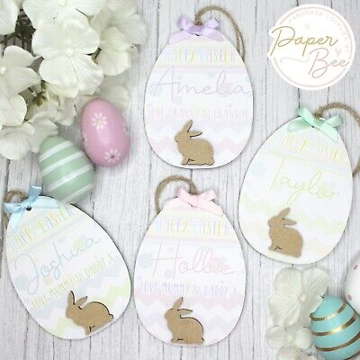 Personalised Easter Egg Plaque Decoration Wooden Ornament Name Baby 1st Gift • 5.99£