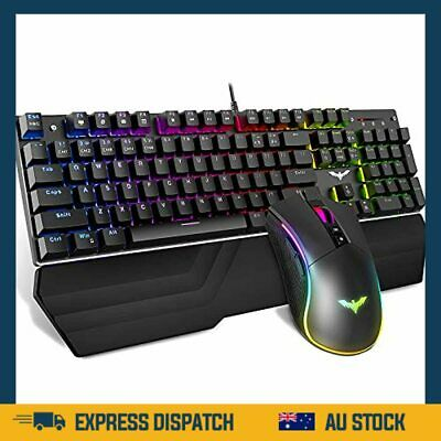 AU86.99 • Buy Mechanical Keyboard And Mouse Combo RGB Gaming 104 Keys Blue Switches - AU