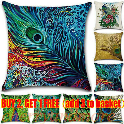 Nordic Peacock Bedroom Pillow Case Home Car Sofa Decor Trow Cusion Cover Decor • 6.64£