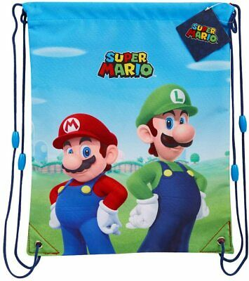 £9.49 • Buy Super Mario Drawstring Bags For School, Gym, Swimming For Kids