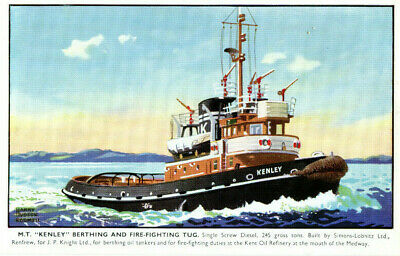 1960s Postcard M.T. KENLEY Berthing And Fire-Fighting Tug • 1.45£
