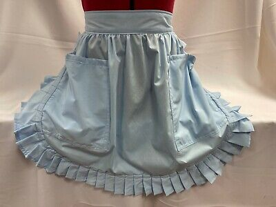 £16.99 • Buy RETRO VINTAGE 50's STYLE HALF APRON / PINNY With 2 POCKETS - PALE BLUE