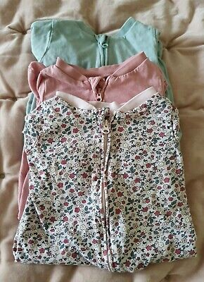 3 Baby H&M Sleepsuits Babygrow Zip Front 1-2 Months  Pink, Floral, Turquoise VGC • 5£