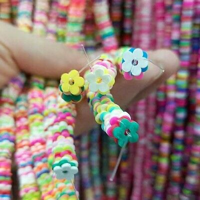 £2.25 • Buy Polymer Clay, 4 Mm Or 6 Mm Flower Beads, , Rainbow Beads,  Infill  CP6