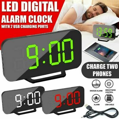 AU19.99 • Buy Mirror LED Alarm Clock Night Light Digital Clock Thermometer With USB Charging