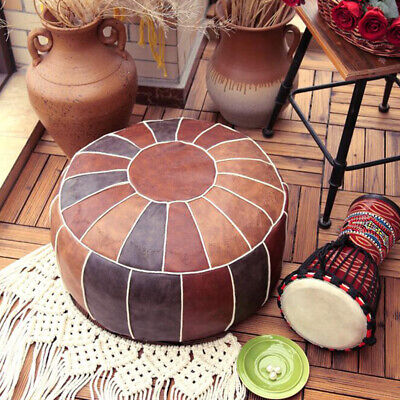 Round Moroccan Leather Footstool Pouffe Pouf Cover DIY Ottoman Cover Storage • 32.49£