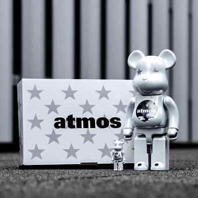 $358.88 • Buy Bearbrick Medicom 2020 Atmos White Chrome 100% 400% Be@rbrick