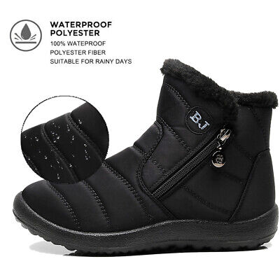 Womens Ankle Snow Boots Warm Fur Lined Zipper Outdoor Waterproof Anti-Slip Shoes • 17.86£