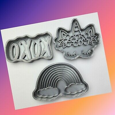 AU18.12 • Buy Set Of 3 Unicorn Rainbow Cloud Xoxo Cookie Cutter
