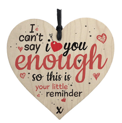 AU4.99 • Buy Hanging Heart Gift I LOVE YOU Hanging Wood Valentines Decor Thank You Gift 1pc