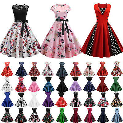 AU23.93 • Buy Womens Retro 50s 60s Vintage Swing Dress Rockabilly Evening Party Skater Dresses