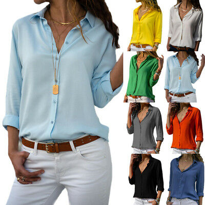 Women Long Sleeve Blouse Loose Tops Ladies V Neck Casual Office Work Shirt New • 9.89£