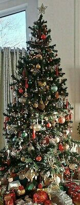 7ft Used Artificial Green Christmas Tree & Base • 10£